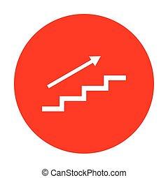 escalier, arrow., blanc, circle., rouges, icône