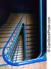 escalier, bâtiment, portugal, classique, bas, vue