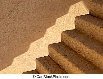 escalier, béton, brun, vide