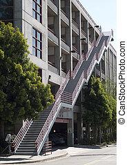 escalier, béton, dehors, garage, état, stationnement, campus