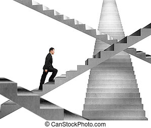 escalier, béton, homme affaires, fond, escalade, labyrinthe, blanc