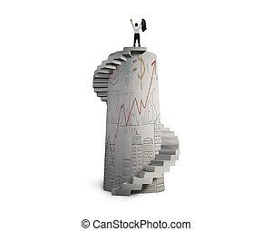 escalier, béton, spirale, applaudissement, doodles, homme affaires, tour