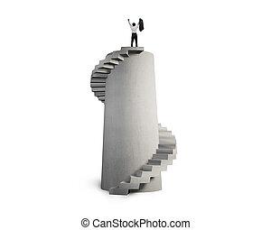 escalier, béton, spirale, applaudissement, homme affaires, tour