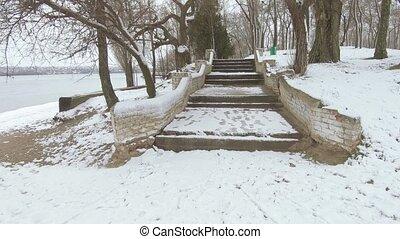 escalier, béton, vieux