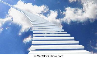 escalier, blanc, 01