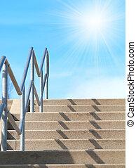 escalier, ciel bleu, soleil