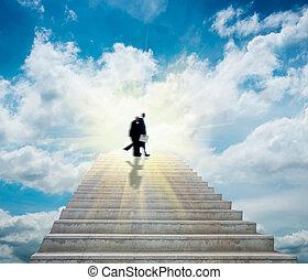 escalier, ciel, ciel
