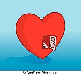 escalier, coeur, entrée, ouverture porte