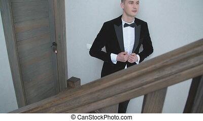 escalier, complet, homme