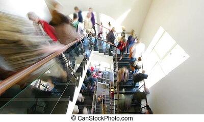 escalier, couler, -, hd, gens