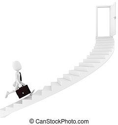 escalier, courant, sortie, conclusion, 3d, homme