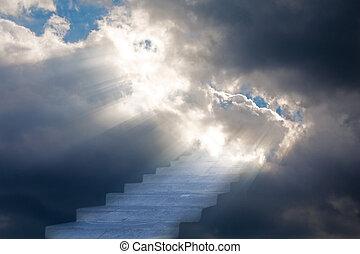 escalier, dans, ciel orage