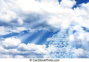 escalier, dans, ciel