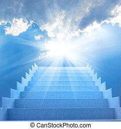 escalier, dans, les, ciel
