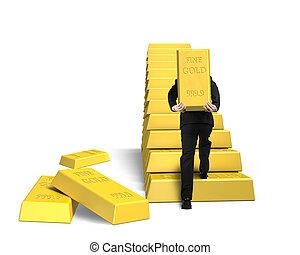 escalier, doré, porter, encaisse-or, homme affaires