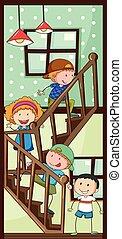escalier, enfants