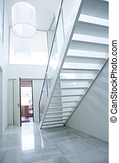 escalier, entrée, maison, moderne, vestibule, blanc, salle