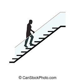 escalier, escalade, moderne, homme