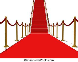escalier, -, escalier, renommée, moquette rouge