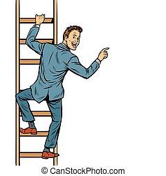 escalier, espace, montées, points, homme affaires, copie, homme