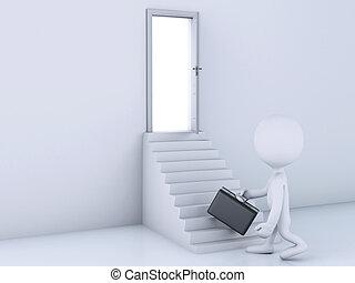 escalier, gens, door., haut, escalade, blanc, ouvert