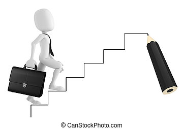 escalier, haut, aller, homme affaires, homme, dessin animé, 3d