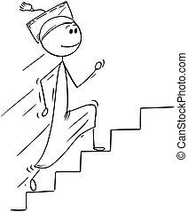 escalier, haut, diplômé, courant, dessin animé, escalier, ou, homme