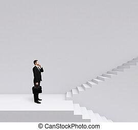 escalier, homme affaires tient