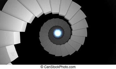 escalier, infinité, 13, infinity., fin, tunnel, lumière, ...