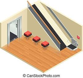 escalier, intérieur, isométrique, ascenseur