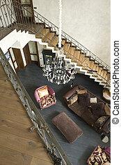 escalier, intérieur, salle, vivant