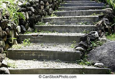 Naturel, pierre, escalier, jardin. Pierre, naturel, jardin, aménagé ...