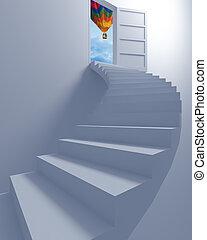 escalier, liberté, balloon