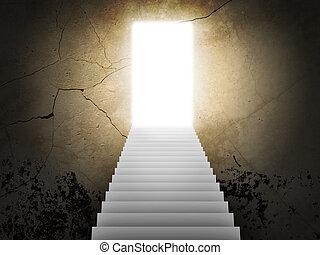 escalier, magie, portes