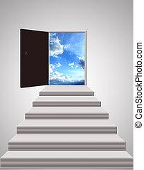 escalier, mener, lumière ciel