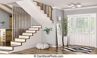 escalier, moderne, rendre, intérieur, salle, 3d