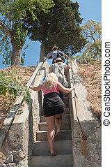 escalier, montée, touristes