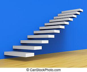 escalier, monter, croissance, spectacles, escalier, haut