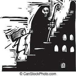 escalier, mort