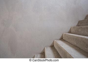escalier, mur, texte, béton, vide, structure