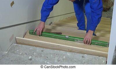 escalier, planche, outillage, niveau, nouveau, marteau, ...