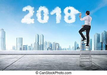 escalier, pulvérisation, forme, 2018, utilisation, homme affaires, nuage blanc