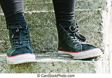 escalier, retro, chaussures