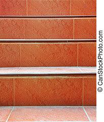 escalier, rouges, béton
