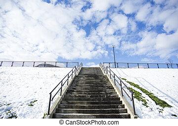 escalier, saison, parc, hiver, neige
