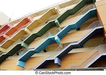 escalier secours, escalier