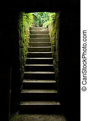 escalier, sombre, extérieur, salle, lueur