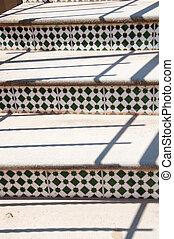 escalier, tiles., mosaïque, espagnol