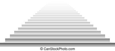 escalier, vecteur, arrière-plan., steps., isolé, blanc, ...
