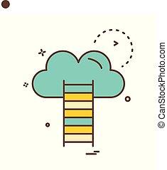 escalier, vecteur, conception, nuage, icône